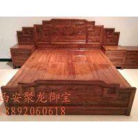 西安仿古实木床、仿古家具厂家、仿古家具定制价格、红木床效果图、家居装饰效果图