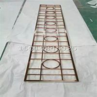 恒大售楼部门头花|玫瑰金镜面不锈钢花格|大堂入口装饰柱造型花格厂家定制