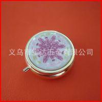 高档金色金属药丸盒 出口日本圆形医药盒子 印刷三格小药盒 pill-box