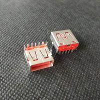 短体USB快充AF大电流5A/一加手机 5P闪充USB 90度全插AF pbt红胶