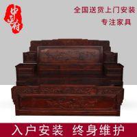 东阳红木家具城 红木家具床1.8米 年年红红木家具 红木家具网 黑酸枝床报价 特价红木家具 阔叶黄檀