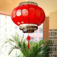 供应古清灯饰新款中式吊灯红色圆形羊皮纸灯餐厅客厅书房灯具 2002