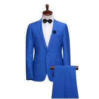 广州西服加工厂 厂家直销蓝色男西服套装 男西服加工厂加工西服