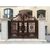 山东铝艺大门护栏,铝合金防盗门,别墅庭院铝艺大门护栏