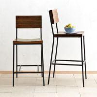 方木靠背吧椅酒吧咖啡厅方形高脚酒吧椅家用餐饮门店方座实木椅