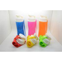 厂家热销硅胶运动水瓶 500ml彩色硅胶水杯 可折叠硅胶户外运动水杯