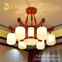 进丰 新中式灯具红木 LED客厅吊灯 酒店别墅会所工程灯定制厂家