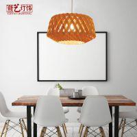 新款创意个性木艺吊灯中餐厅新中式吊灯木皮灯具家装客厅