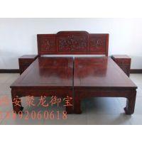 西安仿古实木床、仿古家具定制价格、中式仿古床尺寸效果图