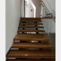 佛山尚步梯业 直线式钢木楼梯 双梁龙骨楼梯 厂家定制生产