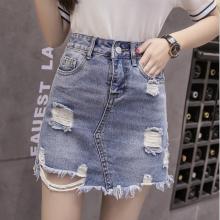 春夏季直销牛仔短裙2018新款韩版牛仔半身裙浅蓝中长裙厂家一手货源