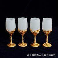 天然玉石酒具厂家批发定制 高档工艺品送领导 金镶玉生日结婚礼品