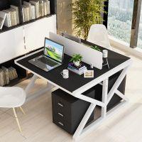 简约现代双人职员办公桌4人位电脑桌椅组合办公室屏风卡座会议桌