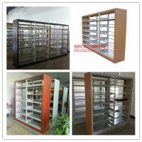 洛阳图书馆书架厂家 汇金木护板单面双面书架批发15515322156