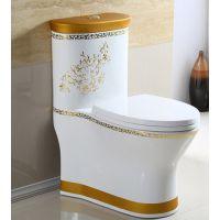 酒店工程金色陶瓷欧式一体式马桶座便器