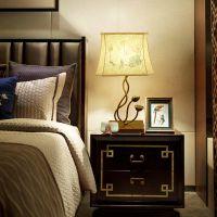 新中式布艺台灯 卧室LED创意装饰样板房酒店客房台灯