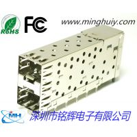 厂家供应SFP光纤连接器 2X1双层压接式内含座子SFP光纤插座 带导光柱