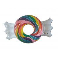环保PVC充气糖果泳圈 印花糖果浮排 水上休闲娱乐玩具
