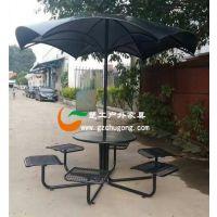 社区休闲钢制桌凳,超市休息铁艺桌椅,金属冲孔板连体台凳