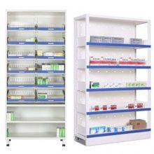 湖北钢制网丝带储物西药架多少钱 药店用药品柜储物柜操作台订做