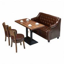 欧式咖啡厅沙发桌子组合,皮制软包卡座沙发订做