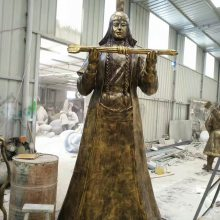 铸铜蒙古武士雕像草原文化匈奴骑兵铜塑像摆件将士玻璃钢仿铜战士人物雕塑草原勇士将军雕像现货