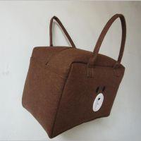 供应卡通小熊购物袋大容量毛毡立体旅行包收纳学生手提包