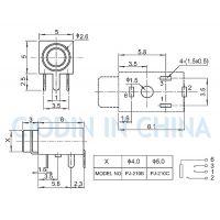 SOFNG DXT3.5 耳機插座PJ-210 外形尺寸:11.0mm*5.0mm*5.0mm