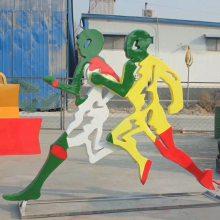 不锈钢跑步造型健身剪影模型 金属铁艺锻炼身体人物雕塑 玻璃钢铸铜体育运动员圆雕校园体育馆摆件