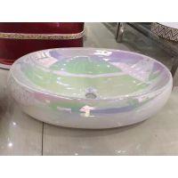 浴室间新款彩色椭圆形陶瓷卫浴一体洗手盆