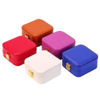 亚马逊热销便携随身首饰盒韩国耳环饰品小包装收纳盒pu珠宝盒
