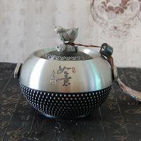 新款纯锡茶叶罐吉祥如意生肖猪锡罐密封罐普洱茶罐家居办公礼品礼盒包装