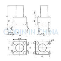 SOFNG TS-1102 外形尺寸:6.0mm*6.0mm*4.3mm