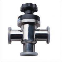 GDS预抽口的三通式高真空挡板阀 不锈钢挡板阀