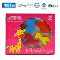 厂家直销 动物造型迷你蜡笔套装6色动物蜡笔 顺滑流畅动物蜡笔