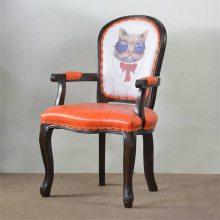 河源扶手西餐厅椅子定做,北欧实木扶手餐椅厂家