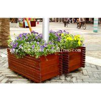 供应休闲广场木质景观花箱 卡通景观花架 移动花车