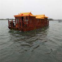 殿宝10米画舫餐饮船 水上餐厅船 公园游船 电动木船价格