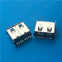 正反插USB母座 AF 180度双面直插 卷边-8Pin单排有脚黑胶 铁壳 (2)