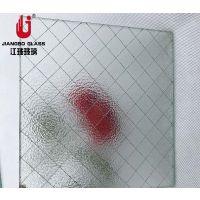 10mm压花菱形格夹铁丝玻璃 各种规格高透铁丝钢丝玻璃