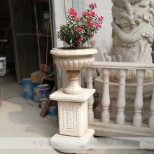 石雕花盆花钵锈石欧式圆形盆小区户外装饰雕塑摆件曲阳万洋雕刻厂家定做