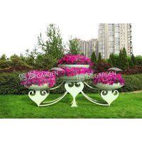 供应公园广场大型铁艺花架 立体容器广场造型绿化名族风