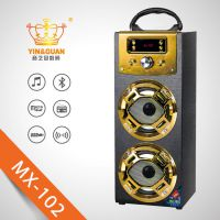 现货供应新款musiccrownMX-102便携式木质无线蓝牙音响户外卡拉OK插卡收音机音响