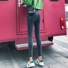 广州工厂低价清货女式牛仔裤几块钱高腰弹力小脚裤批发韩版女装裤子清货
