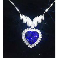 绚彩珠宝18K金海洋之心坦桑石大吊坠 主石32.7克拉 颜色好 切工好 心形坦桑石
