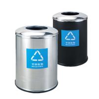 不锈钢美式垃圾桶烤漆圆形果皮桶酒店杂物果皮清洁大容量收纳桶