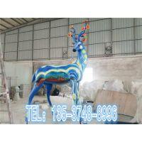玻璃钢彩绘长颈鹿雕塑园林景观玻璃纤维长颈鹿雕塑