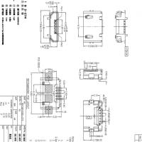 MICRO B型贴片式母座5P前两脚贴片SMT带焊盘 直边有柱加长针