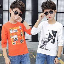 韩版女童春秋款T恤大中童5方领长袖上衣6外穿打底衫9拼接体恤12岁 衬衫