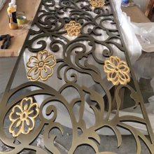 浙江高贵玫瑰金铝板雕刻屏风拉丝屏风订做批发